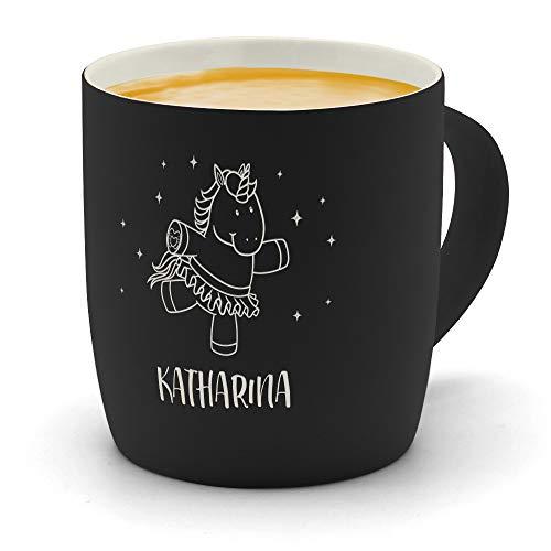 printplanet - Kaffeebecher mit Namen Katharina graviert - SoftTouch Tasse mit Gravur Design Einhorn - Matt-gummierte Oberfläche - Farbe Schwarz