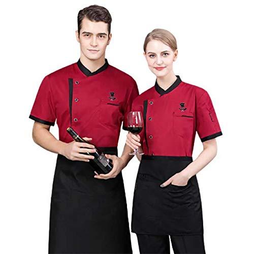 Kochjacke, Coole Kleidung atmungsaktiv Bäckerei Dessert Frauen Männer Sommer-Mantel-Koch-Küchen-Hotel Restaurant Arbeits Uniform,Rot,XXL
