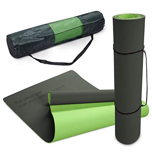 Paco Home Esterilla Antideslizante Yoga Antidesgarro Lavable Dicho Motivador Verde Negro, tamaño:80x183 cm