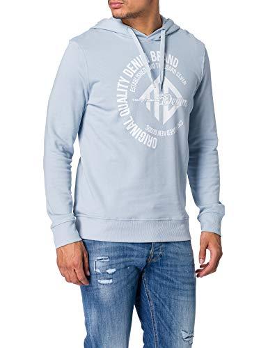 TOM TAILOR Denim Herren 1024417 Logo-Print Hoodie Sweatshirt, 15159-Foggy Blue, M