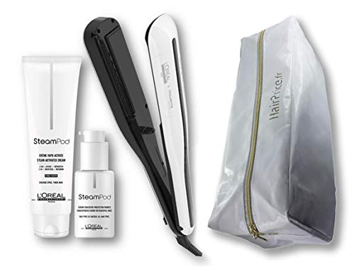 L'Oréal Professionnel Steampod 3.0 - Plancha alisadora + crema para cabello grueso 150 ml + sérum 50 ml + bolsa de almacenamiento