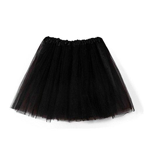 Falda de Tutu Mujer,SHOBDW Pettiskirt Sólido de Gasa Plisada Falda Corta Vestidos De Baile Rendimiento De Disfraces Regalo De Cumpleaños Adulto Mini Tutu Dancing Skirt(Negro)