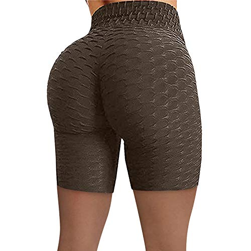 1111 Gym Leggings Honeycomb High Waist Yoga Pants for Women Slim Fit Scrunch Bubble Hip Lift Workout Cycling Shorts Soft Elastic Tummy Control Leggings Plus Size Daily Training Brown