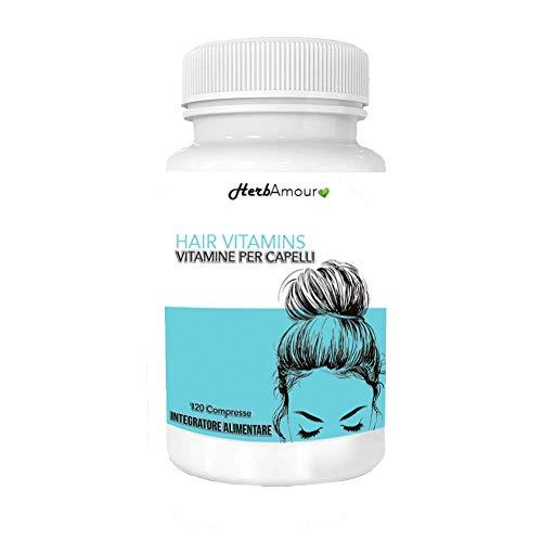 HerbAmour Hair Vitamins Biotina I Integratore Alimentare Per Capelli Donna I Anticaduta, Rinforzante, Per Bellezza E Crescita I Formulazione Innovativ