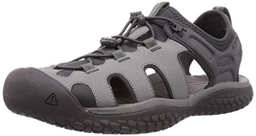 KEEN Men's SOLR High Performance Sport Closed Toe Water Sandal, Steel Grey/Magnet, 12