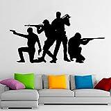 wZUN Soldado Silueta Pared calcomanía Jugador Adolescente niños Dormitorio Sala de Juegos guardería decoración Vinilo Pegatina 57X31cm