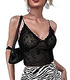 Y2K - Camiseta sexy de encaje para mujer, sin mangas, con tirantes finos, transparente Flocking Black XL