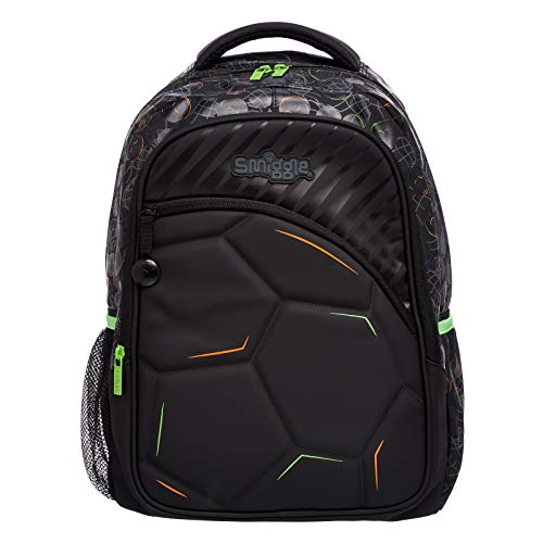 Smiggle Kick Kids School Backpack for Boys & Girls with 4 Zipped Comparments, Laptop Compartment & Dual Drink Bottle Sleeves | Football Print