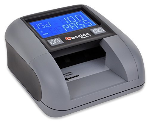 Cassida Quattro Fast Automatic Currency Counterfeit Detector with Advanced Sensors (UV,MG,IR,MT,WT,Thickness,Size) - All-Orientation Feeding - Rechargeable Battery - 3.5' Value & Pass/Fail Display