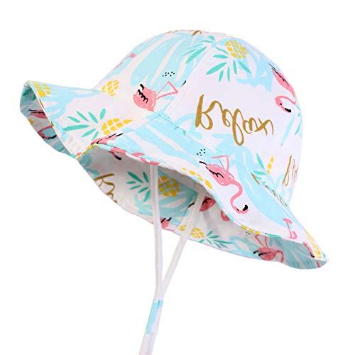 LY Baby Sonnenhut Summer Beach, Flamingo Print Jungen Mädchen Kleinkind Beach Cap Bucket Hat,Blue,50CM