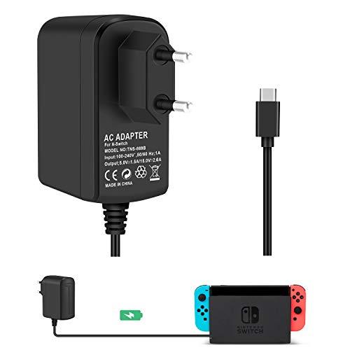 Cargador Adaptador para Nintendo Switch KINGTOP Conmutador de Nintendo Cable de Tipo C Cargador de Viaje de pared Estación de Acoplamiento Consola y el interruptor de Nintendo