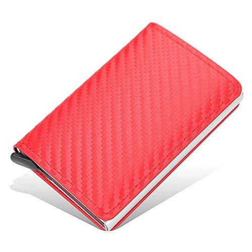 Cartera para hombre, con seguridad RFID para dinero en efectivo y tarjetas, para extraer automáticamente tarjetas y tarjetas de crédito, regalo para hombres y mujeres, Red (Rojo) - 1541S11GK86