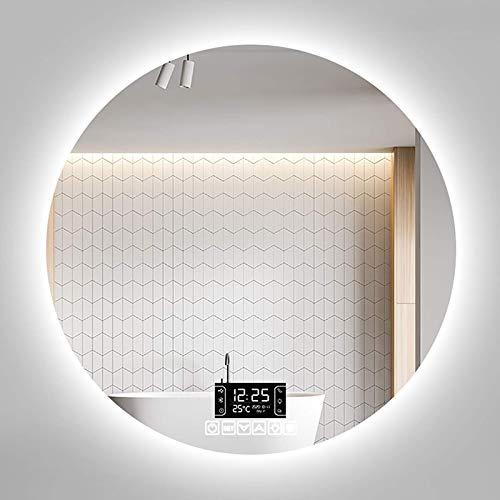 Espejo De Baño Led Redondo Almohadilla Térmica Antivaho Iluminada/Dimmble Táctil / 3 Colores De Luz/Altavoz Bluetooth Espejo Iluminado Montado En La Pared Ip44