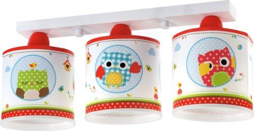 Dalber 60393 uilenplafondlamp, 3-lampen, plastic, rood, 50 x 14,5 x 20 cm