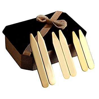 6Pcs Gold Stainless steel Collar Stays Shirt Collar Stiffeners in a Nice Gift Box Size 2.2  / 2.5  / 2.75   CP09-Gold No Note
