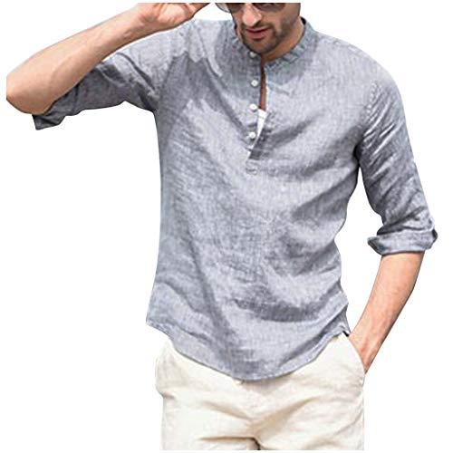 SoonerQuicker Camisas Tops T Shirt 2019 New Hombre Tres Cuartos Vintage Lino...