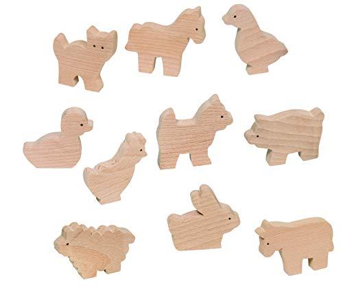 Goki 53871 Verschiedene Bauernhoftiere, Spielzeug aus Holz, 10Stück, für Kinder ab 3Jahren
