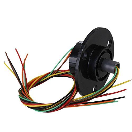 BQLZR 1.73Inch Flang Durchmesser Schwarz 6 Draehte 240VAC / DC Metall 250rpm 2A Industrietestausruestung Kapsel Schleifringleiter