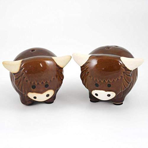 Richard Lang & Son Schottische Highland-Kuh Keramik-Essig-Set
