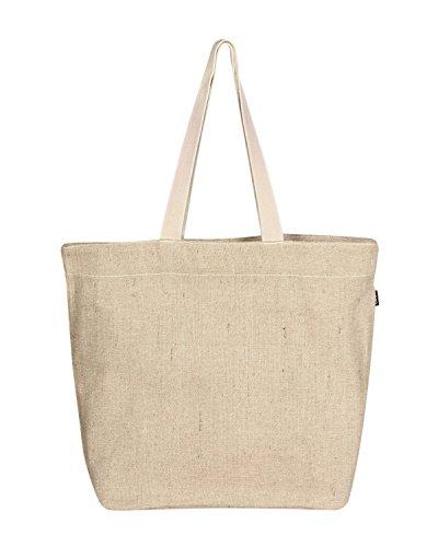 Amazon Brand: Eono Essentials Grand sac fourre-tout réutilisable 100% jute/coton Respectueux de l'environnement Imprimé Beige (naturel)