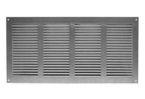 Haeusler-Shop - Rejilla de ventilación galvanizada (400 x 200 mm, con protección contra insectos, metal)