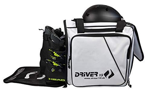 Driver13 ® Skistiefelrucksack mit Helmfach + Skischuhrucksack mit Helmfach für Hart + Snowboard Boot + Inliner + Bootbag Tasche weiß