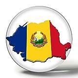 Hqiyaols Souvenir Mapa Rumanía Bandera Nacional 3D Imán de Nevera Imanes de Nevera Círculo Etiqueta de Cristal Colección de Recuerdos Regalo de Viaje