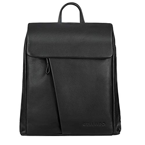 STILORD 'Anita' Lederrucksack Damen Klein Vintage City Rucksack Daypack für iPad 9.7 Zoll Rucksackhandtasche Shopping Freizeit aus Echtem Leder, Farbe:schwarz