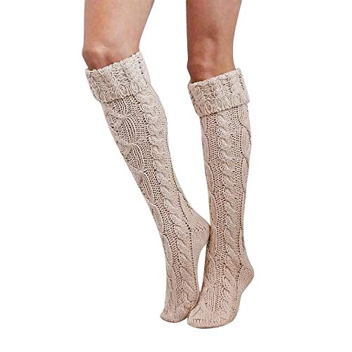 Haluoo Cable Knit Leg Warmers, Women Girls Thigh High Over The Knee High Socks Long Cotton Stockings Legwarmers (Beige)