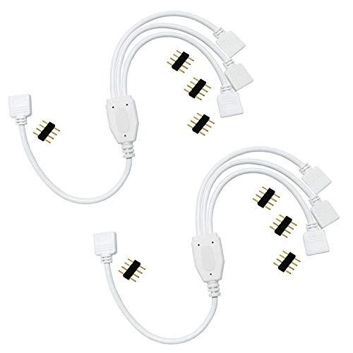LED Verteiler Kabel 1 zu 3 LED Strip Splitter 1 to 3 RGB 5050 3528 2835 LED Streifen Verbinder 4 polig LED Stripe Verbindungskabel LED Band Eckverbinder LED Stecker Anschlusskabel -30cm(2pcs,Weiß)
