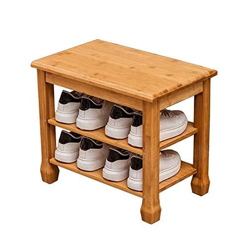 Almacenamiento Zapatos Taburete Almacenamiento Madera Maciza Soporte Moderno y Simple Organizador pie Entrada Guardarropa Pasillo sobre la Puerta Estante bambú(Color:A,Tamaño:70x31x45cm)