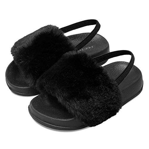FEETCITY Toddler Faux Fur Sandals Non-Slip Slippers for Girls Furry Slides Princess 7.5 Toddler Black