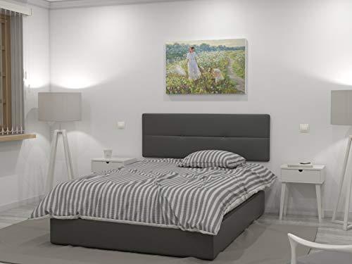 LA WEB DEL COLCHON - Cabecero tapizado Julie para Cama de 135 (145 x 55 cms) Gris Ceniza