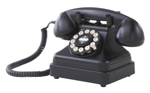 Crosley CR62-BK Kettle Classic - Teléfono de Escritorio con tecnología pulsador, Color Negro