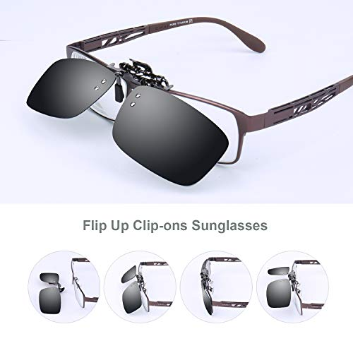 Besgoods Polarized Clip-on Flip up Metal Clip Sunglasses Lenses Glasses Unisex Driving Fishing Outdoor Sports