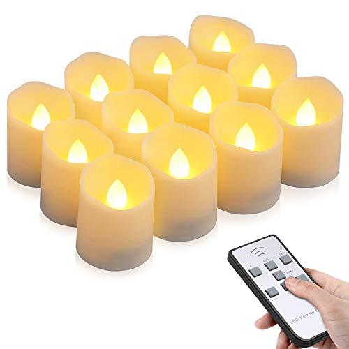 Velas LED sin Llama, otumixx Pack de 12 Velas LED Sin Fuego con Mando a Distancia y Temporizador, Velas Eléctricas con Baterías para Bodas, Cumpleaños, Fiestas, Navidad, Halloween