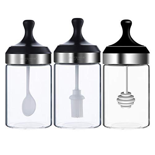 Eervff Caja De Condimentos Juego De 3 Piezas Botella De Condimento Aceite Tarro De Sal Botella De Condimento De Vidrio Tapa De Cuchara A Prueba De Humedad Tarro De Condimento Integrado