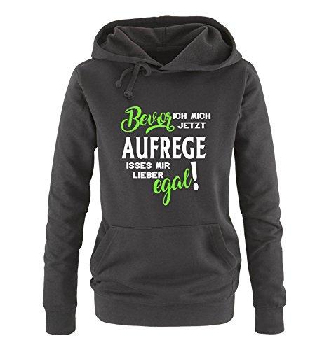 Comedy Shirts - Bevor ich Mich jetzt Aufrege isses Mir Lieber egal! - Damen Hoodie - Schwarz/Weiss-Neongrün Gr. L