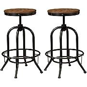 Ashley Furniture Signature Design - Pinnadel Bar Stool - Pub Height - Set of 2 - Rustic Brown