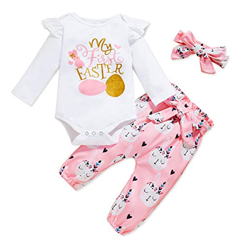 GRNSHTS Baby Girl My First Easter Outfits Infant Eggs Print Long Sleeve Bodysuit+Bunny Pants+Headband 3Pcs Clothes (White-B, 3-6 Months)