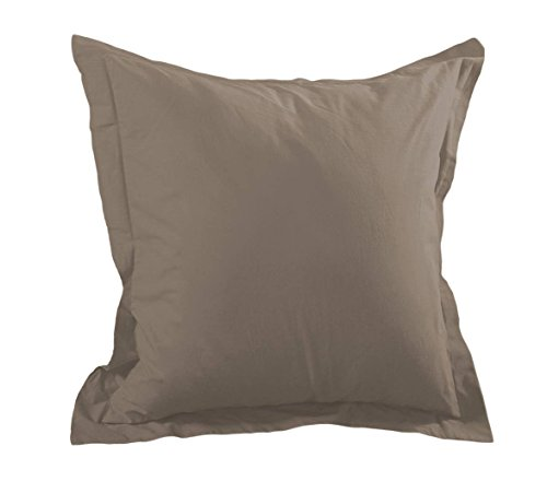 Lovely Casa T14820003 Alicia Taie avec Volant Coton Taupe 65 x 65 cm