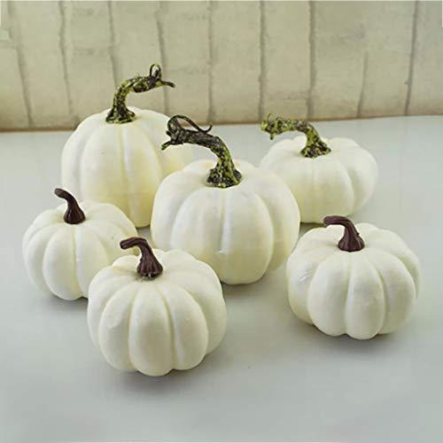 Tracy Bulwer White Künstliche Kürbisse, weiße Deko, dekorative Kürbisse Halloween, Kürbisse, Zierkürbisse und Kürbisse für die Halloween-Dekoration und Herbstdekoration (6)