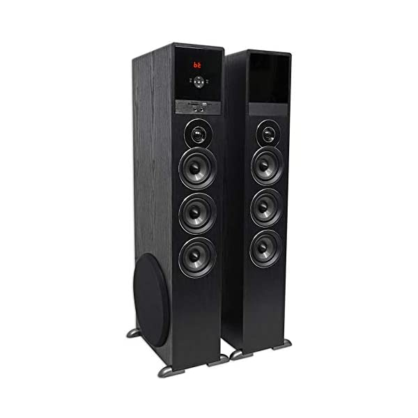 Rockville TM150B Black Home Theater System Tower Speakers 10″ Sub/Blueooth/USB