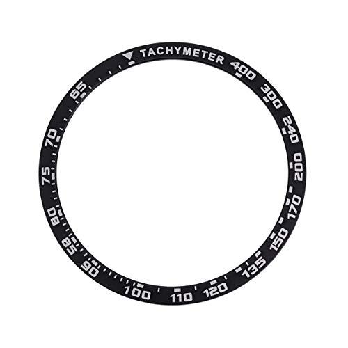 NICERIO Compatível com Samsung Galaxy Watch Bezel Ring Adesivo Cover Anti Scratch Metal Protection Watch Bezel Styling 42 mm, Preto, 4×4CM
