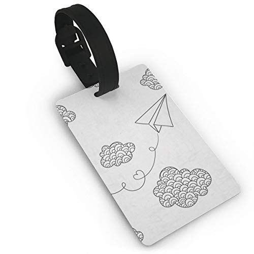 Paper Plane and Clouds Luggage Tags Baggage Lables Travel Suitcase Id Tags Key Fobs