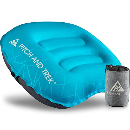 Pitch and Trek Camping Pillow - Inflatable Travel Pillow, Portable, Compact, Compressible - Neck & Lumbar Support for Backpacking & Hiking