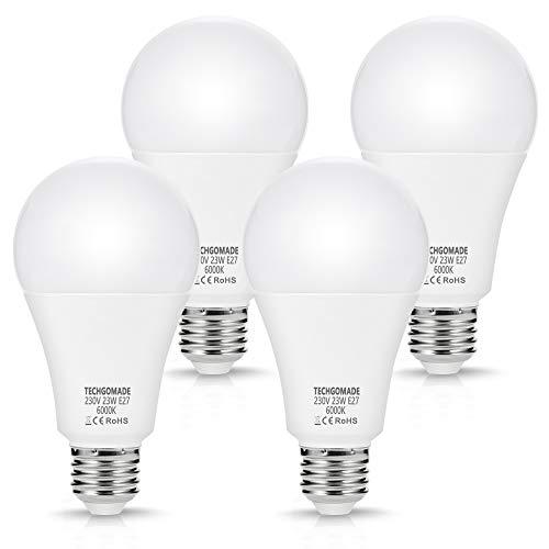4 X 23 W E27 LED-Lampen, Techgomade A65-Lampen, 200 W-Äquivalent, 2500 lm, Superhelles Licht, Tagesweiß 6000K, Energiesparlampen, nicht dimmbar, für Garage, Wohnzimmer, Innenhof, Küche