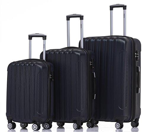 BEIBYE TSA Schloß 2050 Hartschale Trolley Koffer Reisekoffer in M-L-XL-Set (Dunkelblau, Kofferset+TSA Schloß)