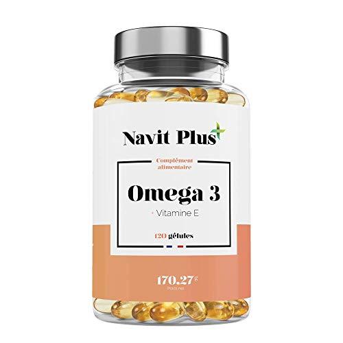 Omega-3   Pure & Essentiel Huile de Poisson Sauvage   Haute concentration en 700mg EPA & 400mg DHA. Omega 3 pure 2000mg.120 gélules
