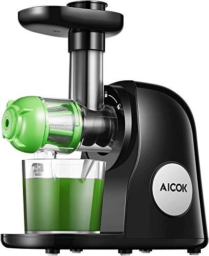 Extracteur de Jus, 2 filtres, Aicok Slow Juicer Presse à Froid Machine avec Moteur Silencieux, Sans BPA, Fonction Inverse, Tasse à Jus, Brosse de Nettoyage, Adapté à Tous Les Fruits & Légumes